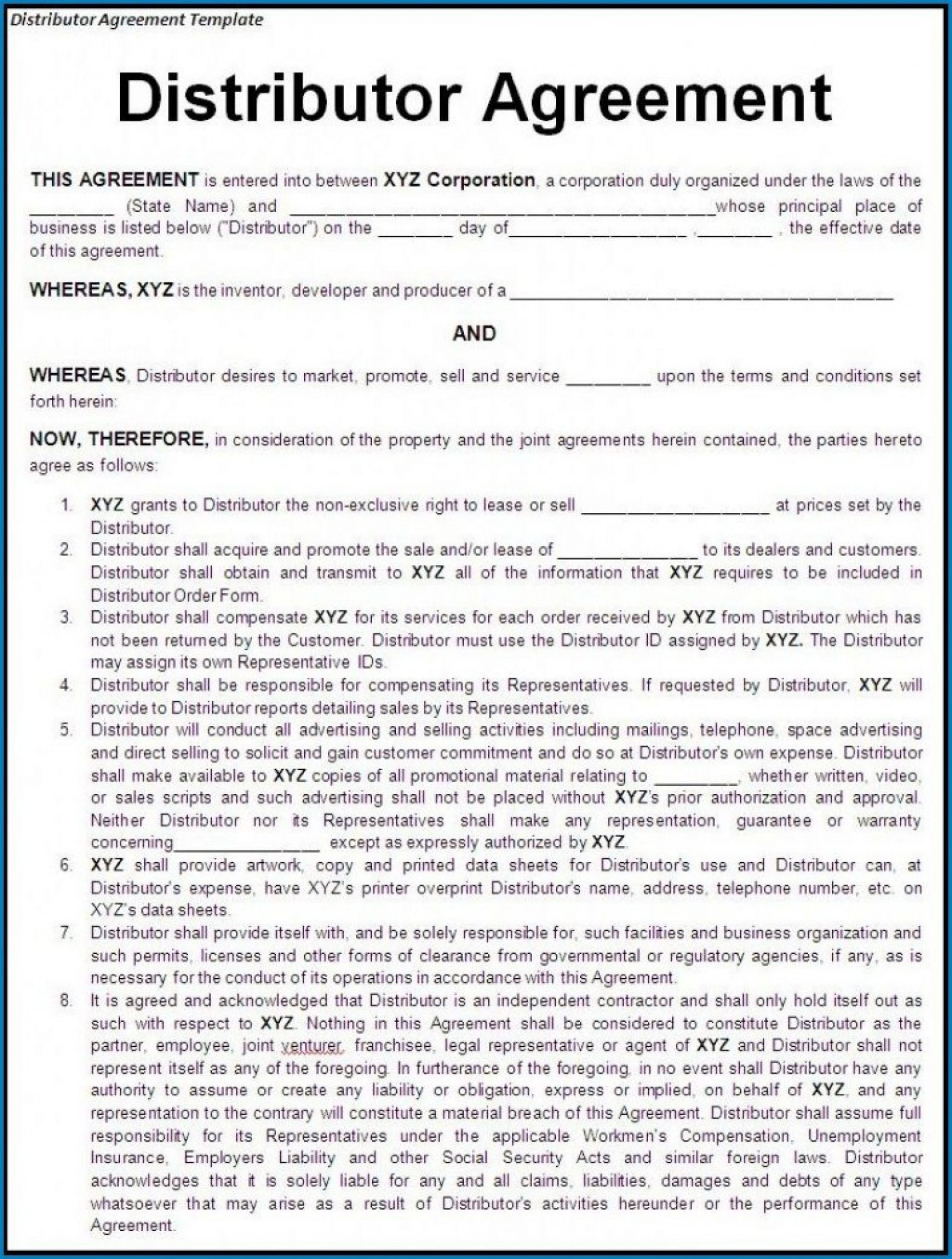 000 Stunning Exclusive Distribution Agreement Template Free Download High Definition 1920