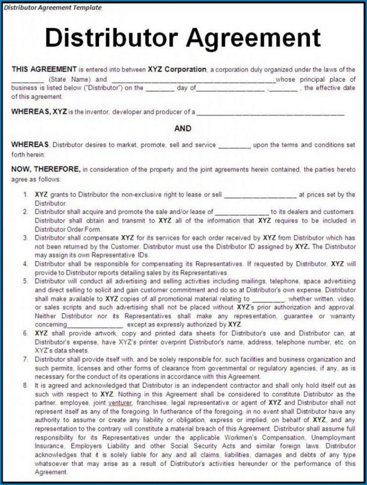 000 Stunning Exclusive Distribution Agreement Template Free Download High Definition 728