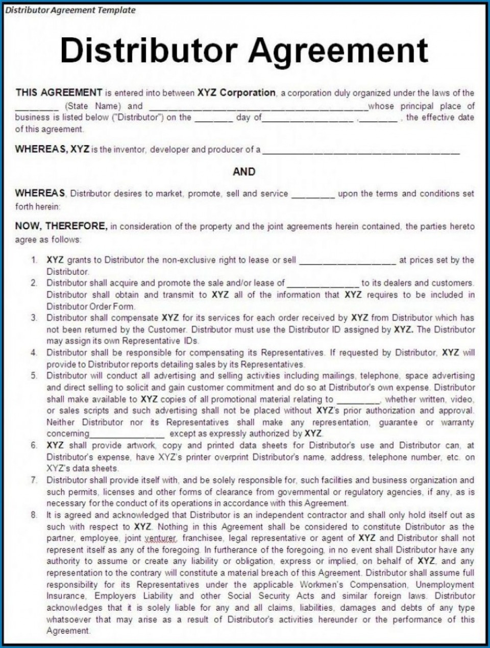 000 Stunning Exclusive Distribution Agreement Template Free Download High Definition 960
