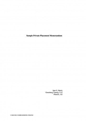 000 Stunning Private Placement Memorandum Template Word Highest Clarity 360