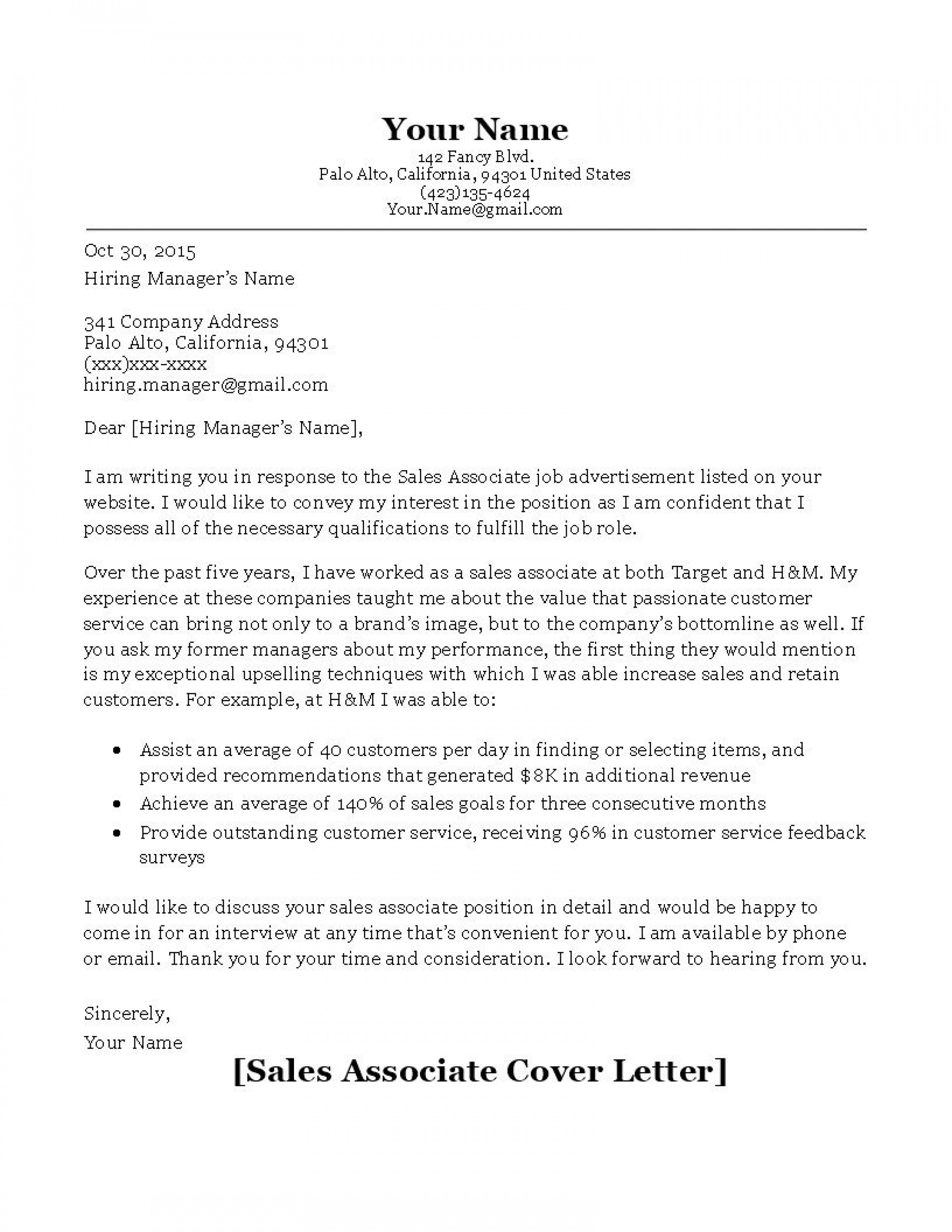 000 Stunning Sale Cover Letter Template Example  Account Manager Word Rep1920