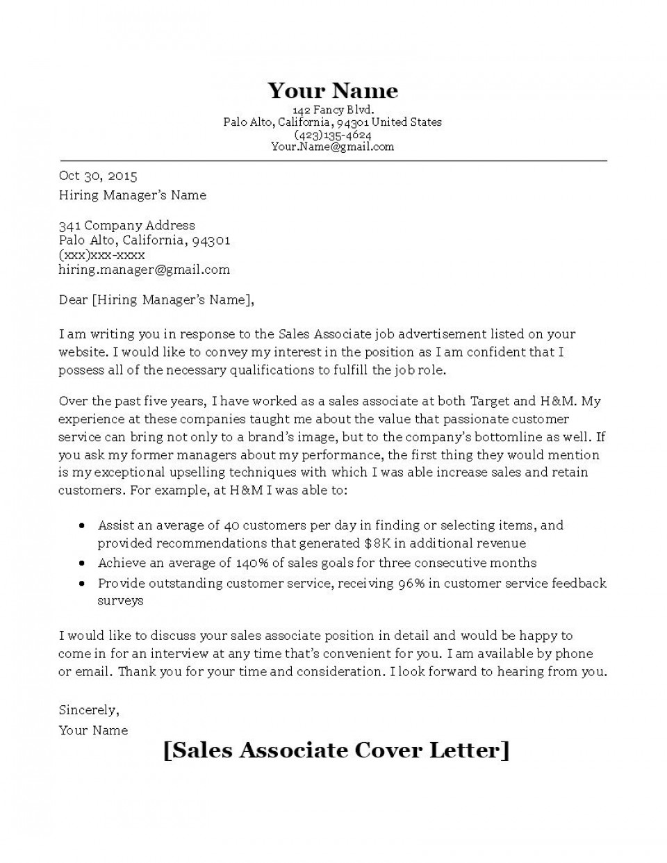 000 Stunning Sale Cover Letter Template Example  Account Manager Word Rep960