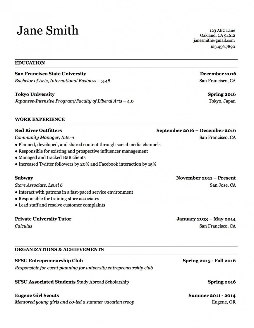 000 Stupendou Make A Resume Template Example  Create For Free How To Good868