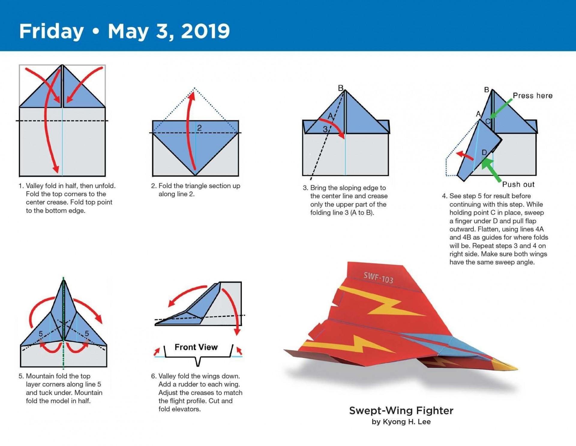 000 Stupendou Printable Paper Airplane Folding Instruction Sample 1920