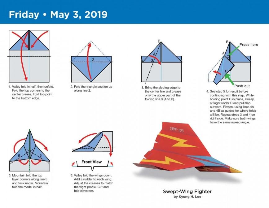 000 Stupendou Printable Paper Airplane Folding Instruction Sample 868