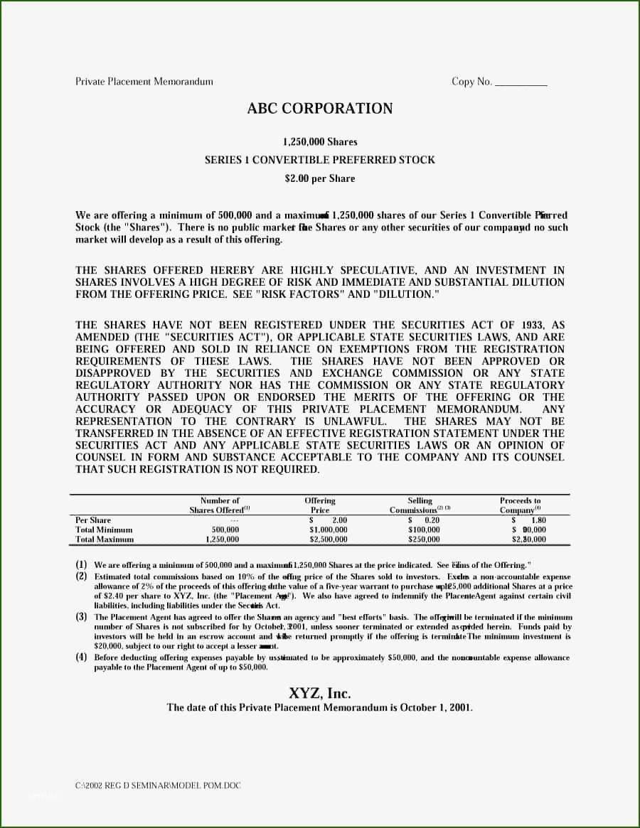 000 Stupendou Private Placement Memorandum Template Idea  Real Estate SingaporeFull