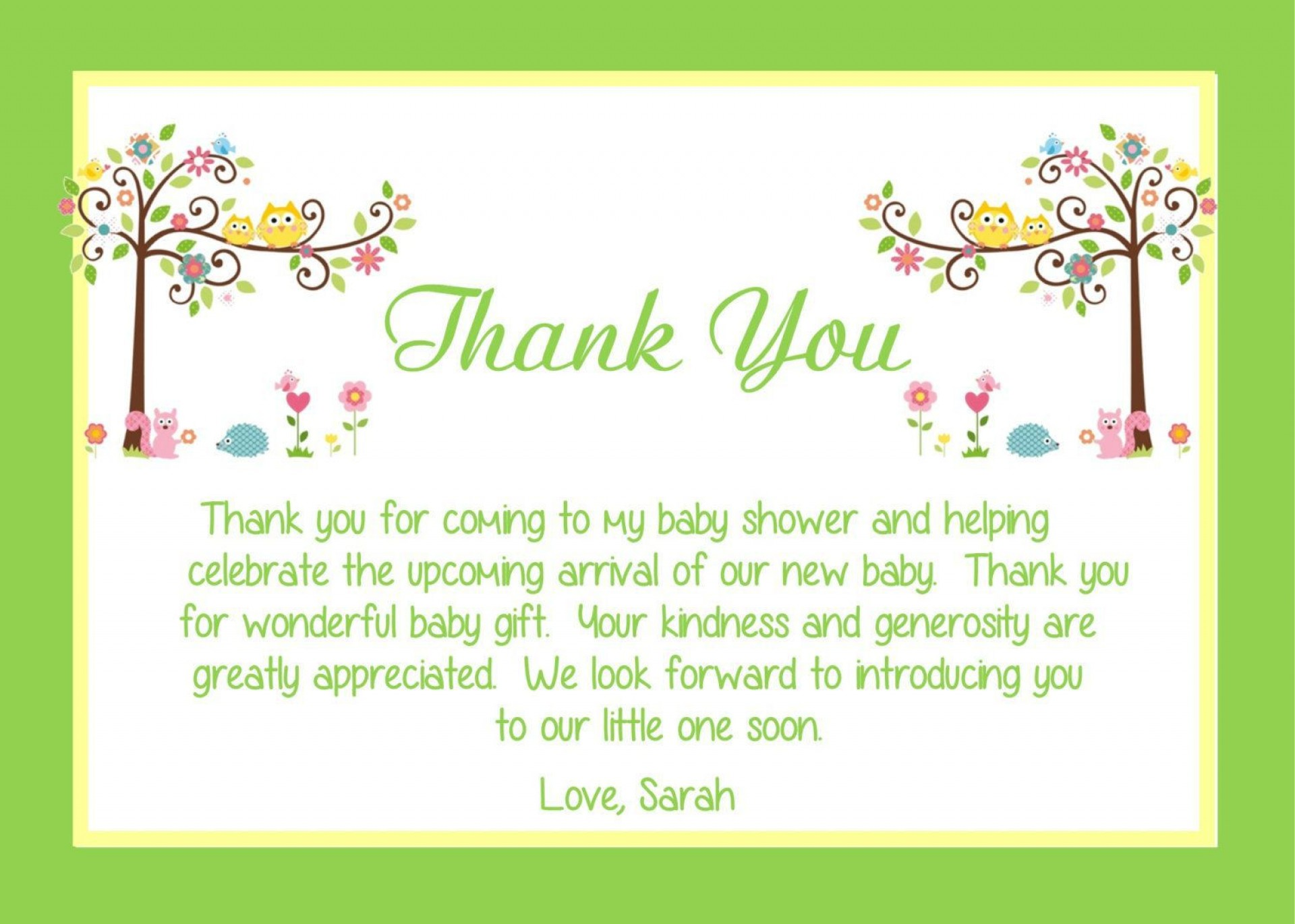 000 Stupendou Thank You Note Template Baby Shower Concept  Card Free Sample For Letter Gift1920