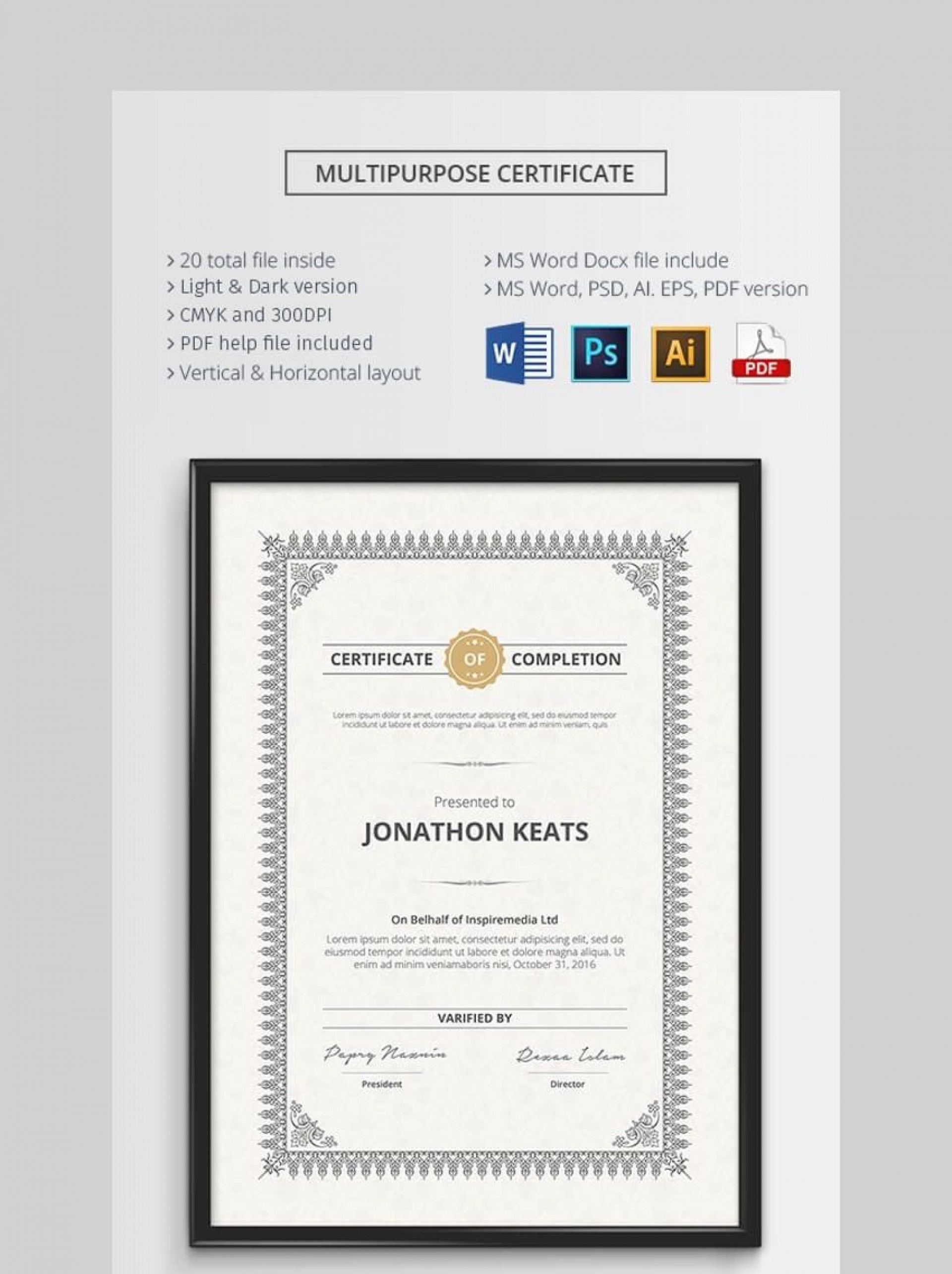 000 Surprising Certificate Template For Word Inspiration  Award 2007 M1920