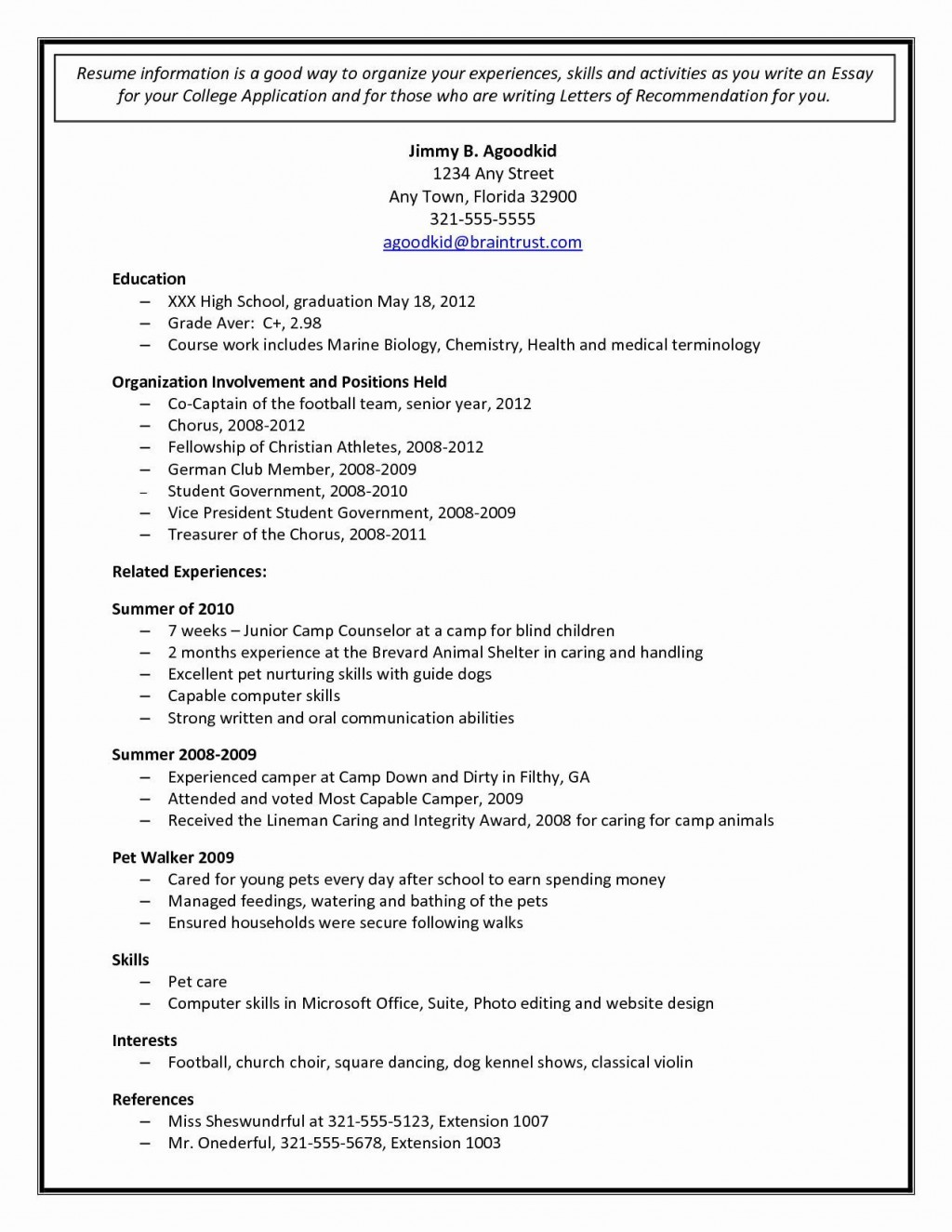 000 Surprising College Admission Resume Template Sample  Application Microsoft Word Free CvLarge