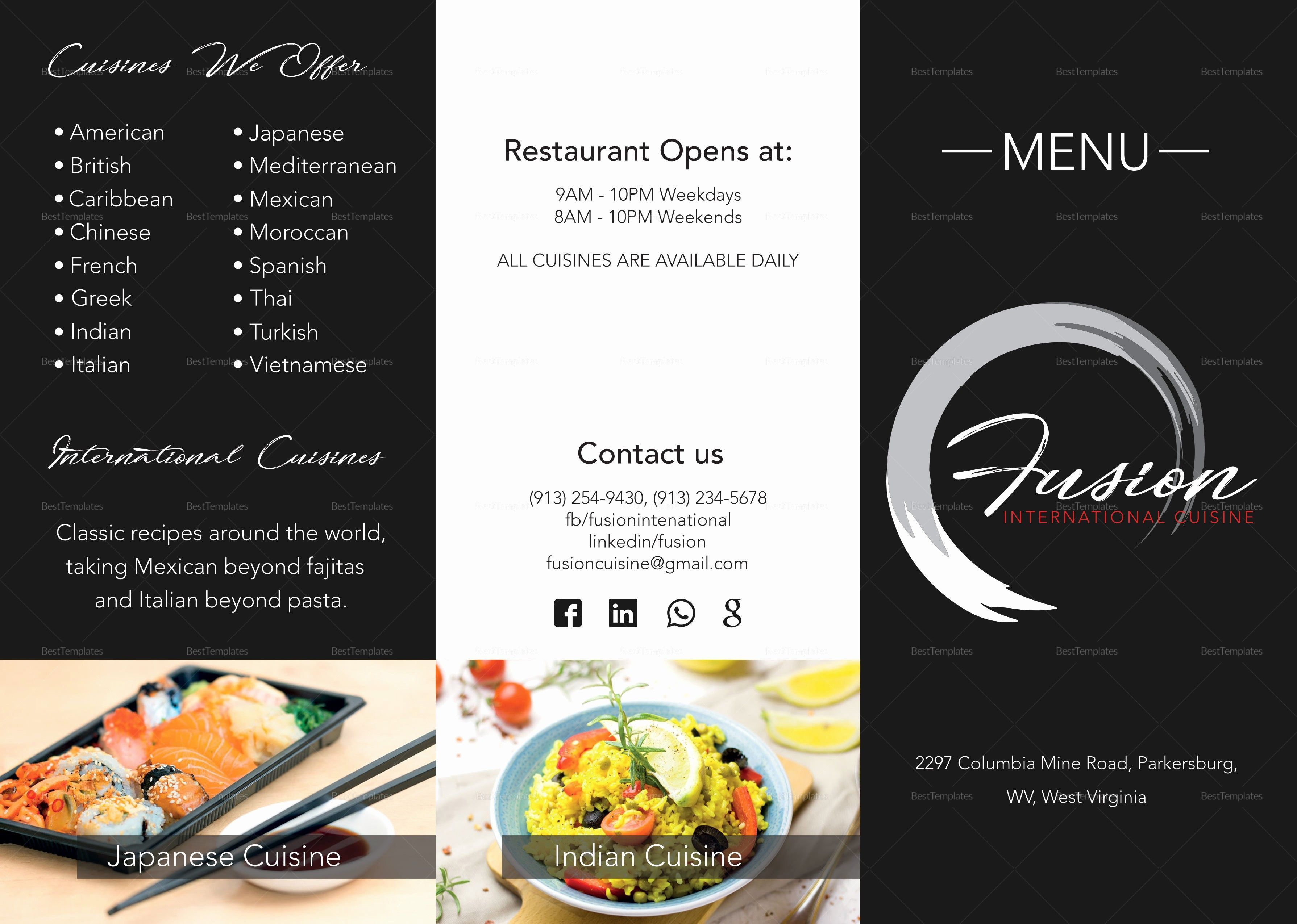 000 Surprising Tri Fold Take Out Menu Template Free Word Highest Quality Full