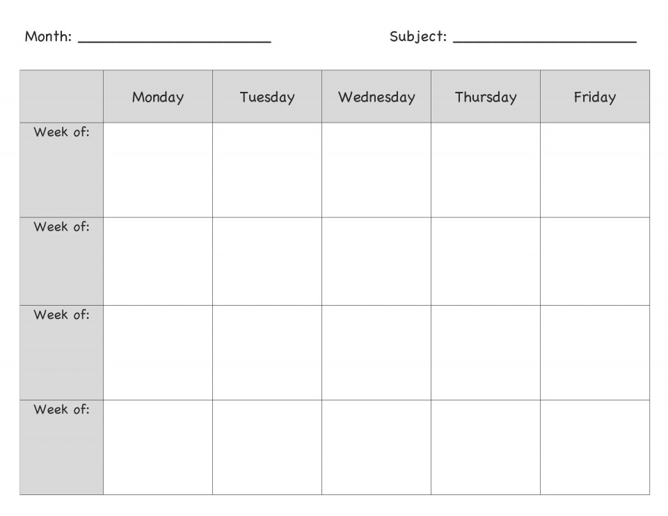 000 Surprising Weekly Lesson Plan Template Picture  Blank Free High School Danielson Google Doc960