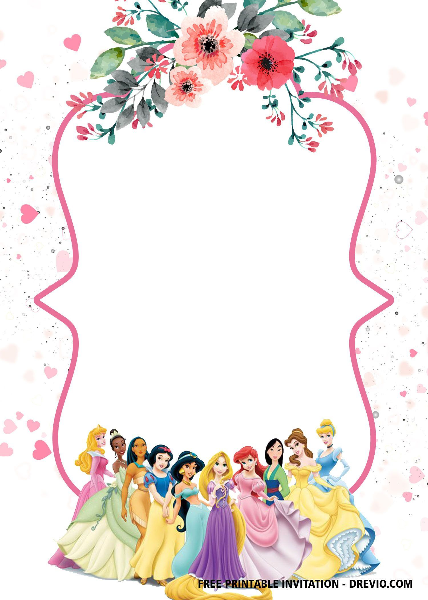 000 Top Disney Princes Invitation Template Highest Quality  Downloadable Party Free Printable BirthdayFull