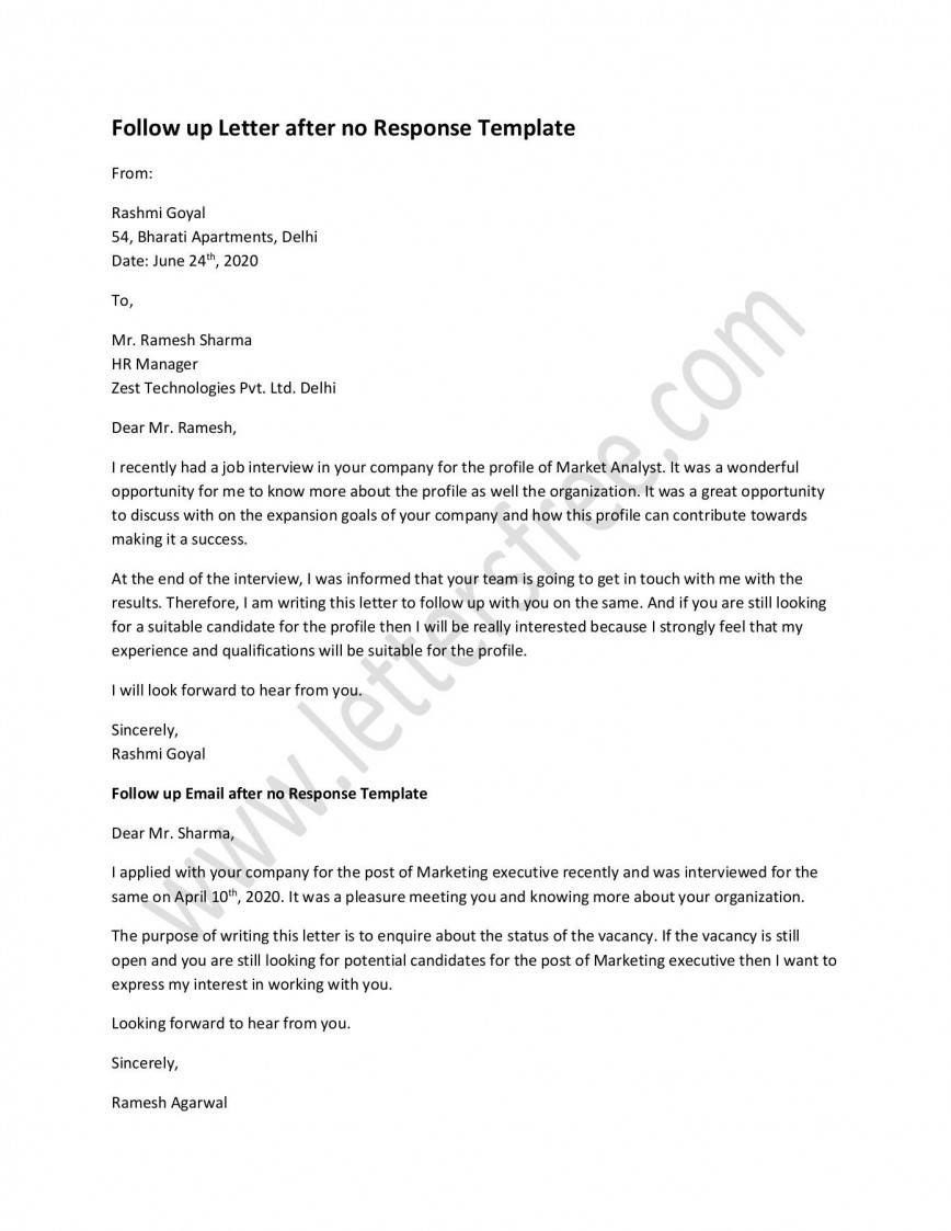 000 Top Follow Up Email Sample After No Response Template Picture