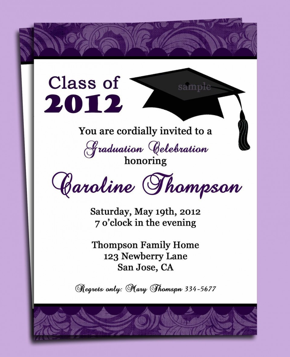 000 Top Free Graduation Announcement Template Photo  Invitation Microsoft Word Printable Kindergarten960