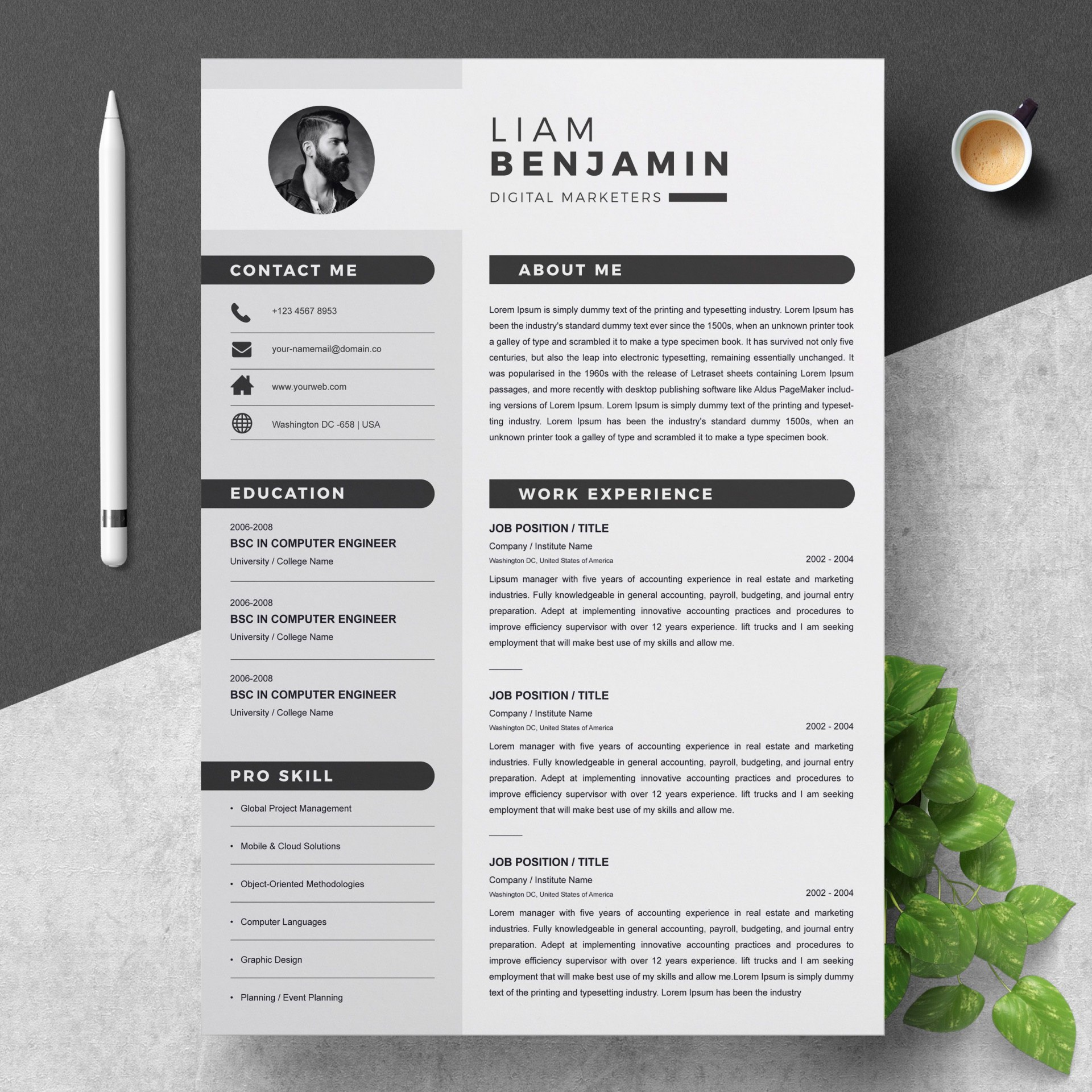 000 Top Free Microsoft Word Resume Template Image  Templates Modern For Download1920