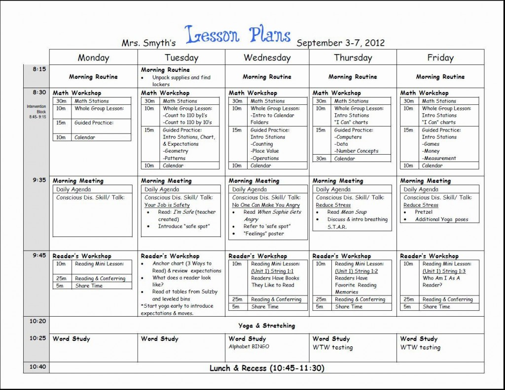 000 Top Lesson Plan Template For Kindergarten Common Core Picture Large