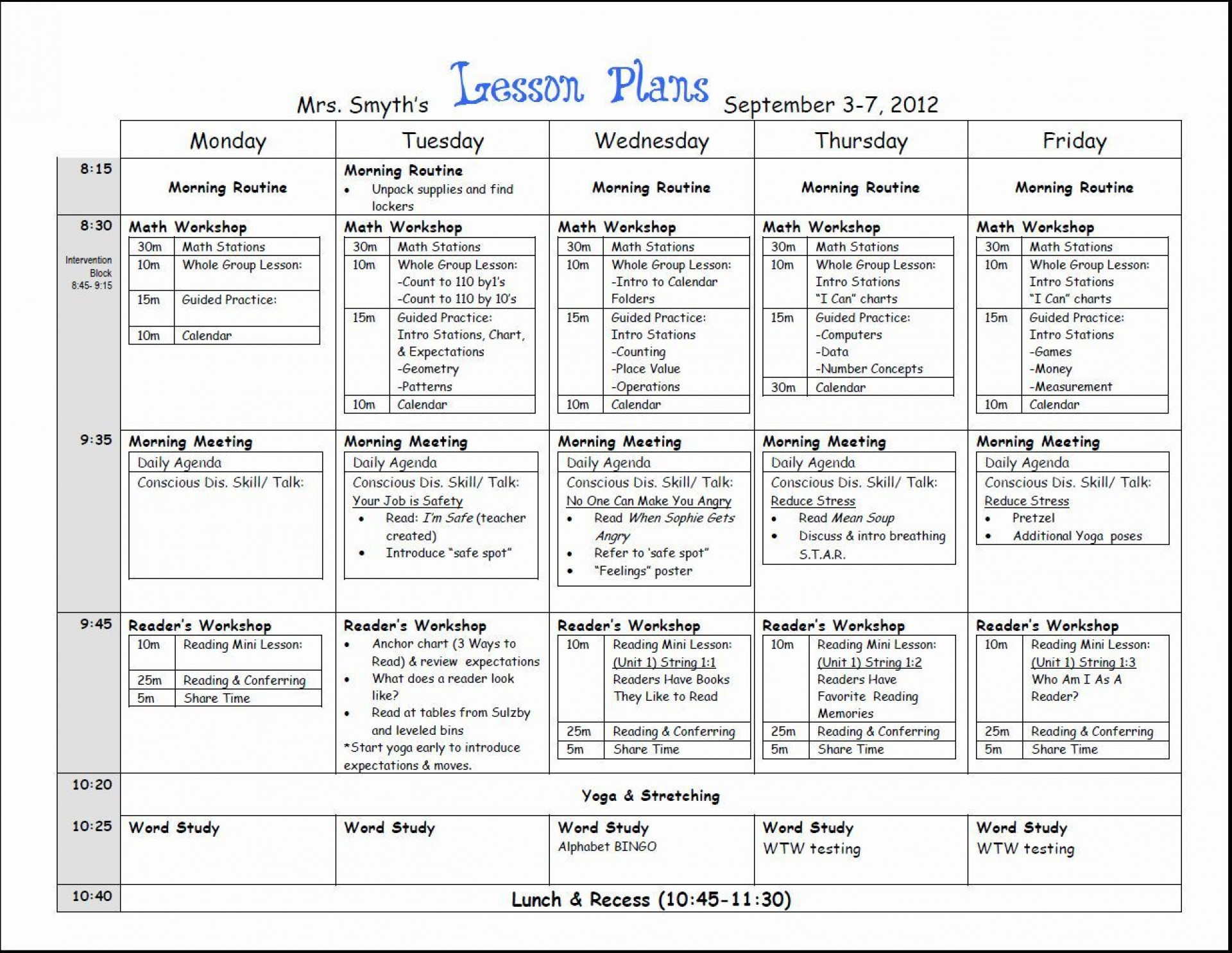 000 Top Lesson Plan Template For Kindergarten Common Core Picture 1920