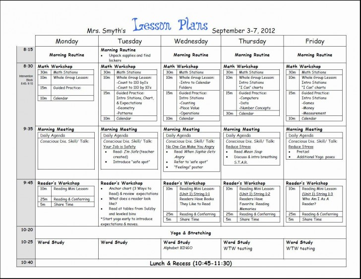 000 Top Lesson Plan Template For Kindergarten Common Core Picture 728