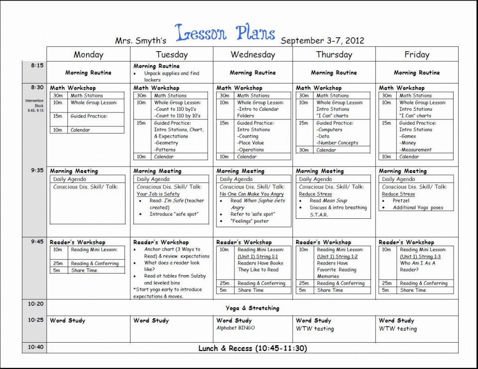000 Top Lesson Plan Template For Kindergarten Common Core Picture 960