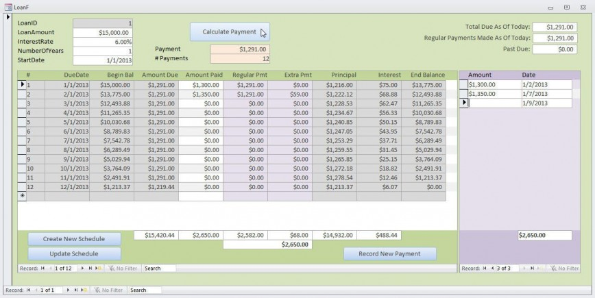 000 Top Loan Amortization Template Excel Inspiration  Student Balloon Payment Schedule Free Download