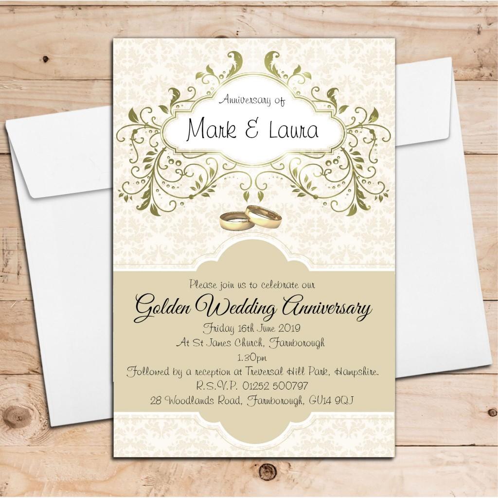 000 Unbelievable 50th Wedding Anniversary Invitation Design Highest Quality  Designs Wording Sample Card Template Free DownloadLarge