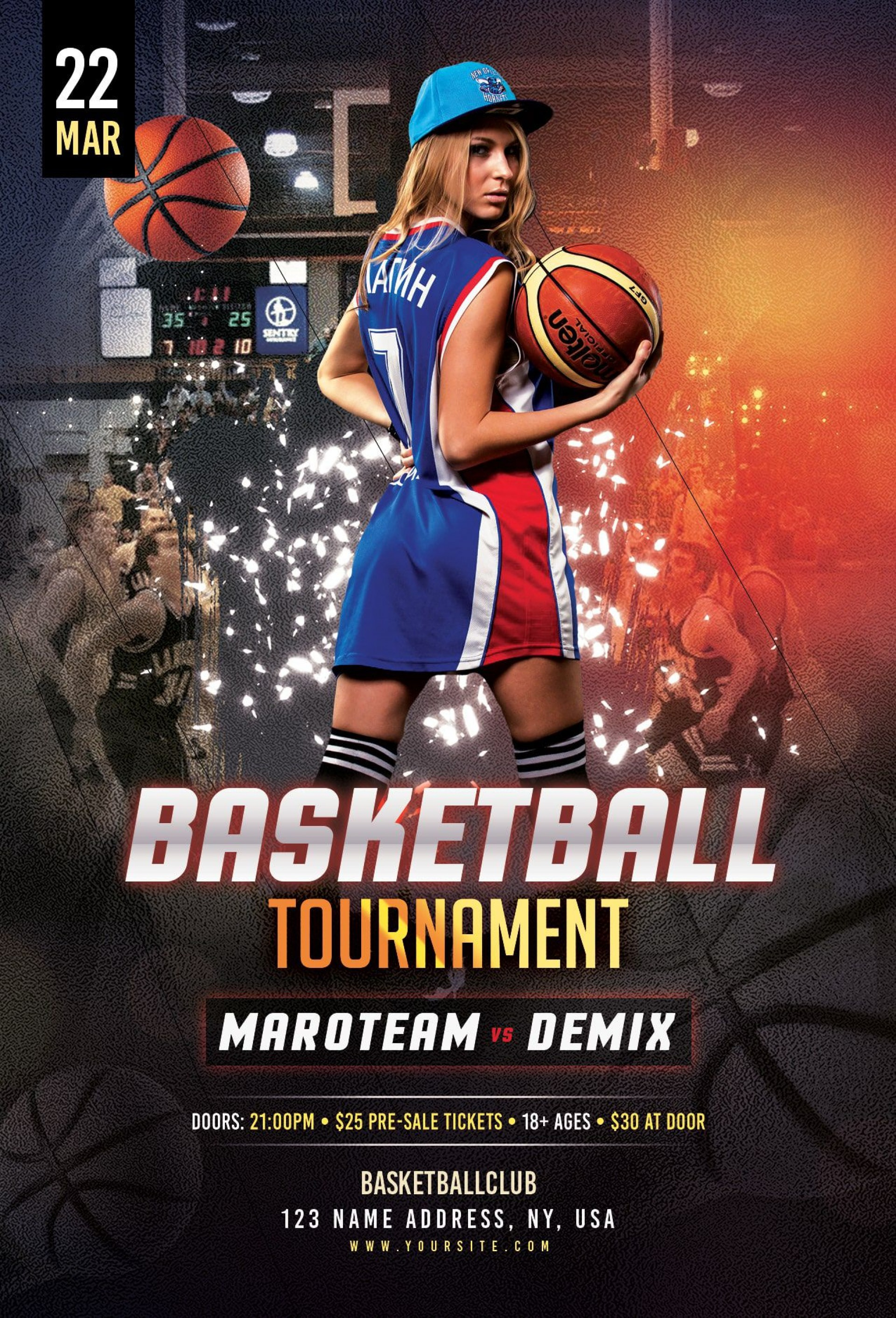 000 Unbelievable Basketball Tournament Flyer Template Sample  3 On Free1920