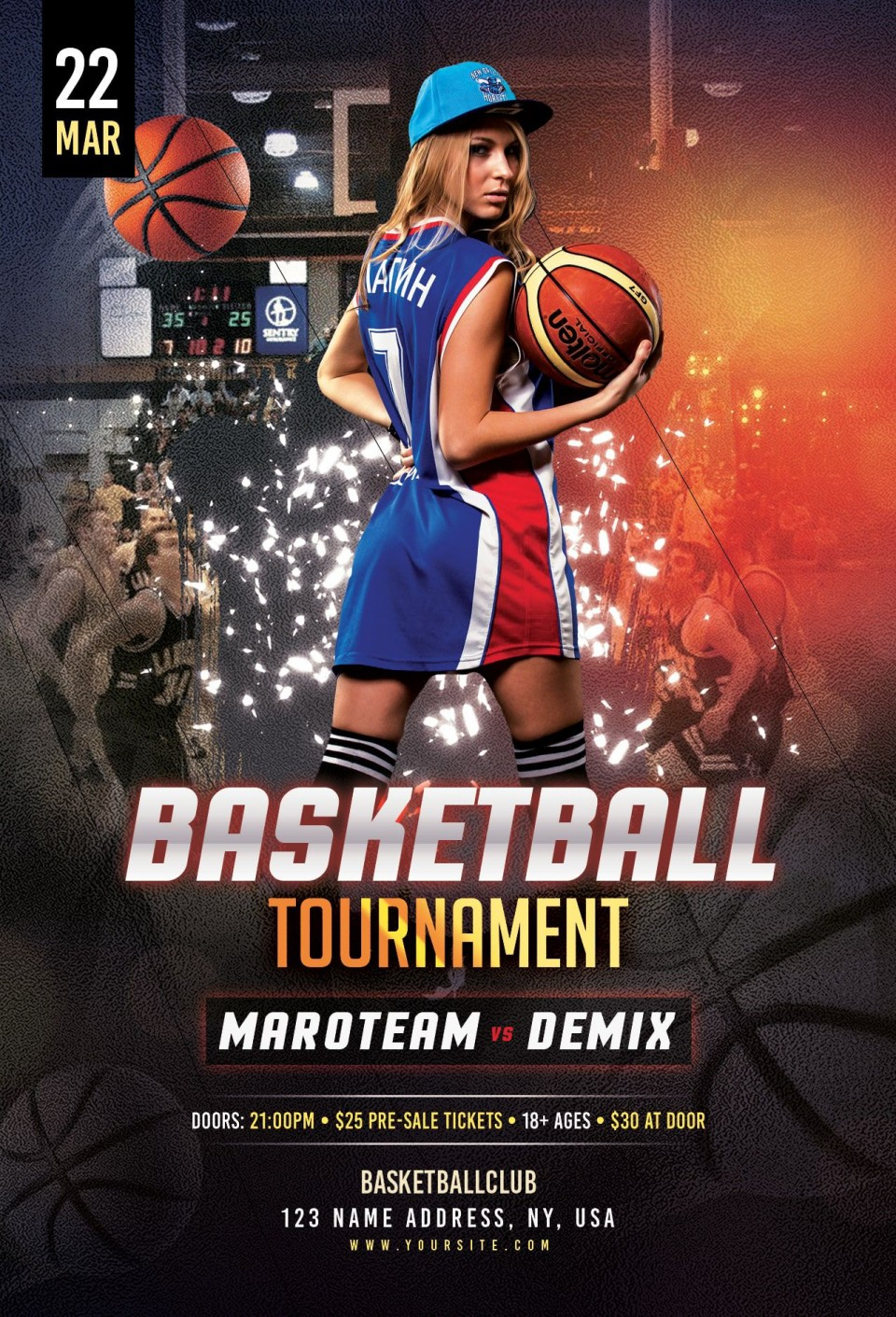 000 Unbelievable Basketball Tournament Flyer Template Sample  3 On Free960