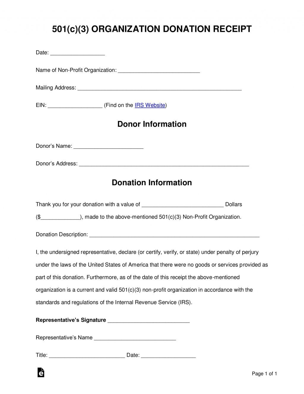 000 Unbelievable Charitable Donation Receipt Template Idea  Sample Ir Contribution Form CharityLarge