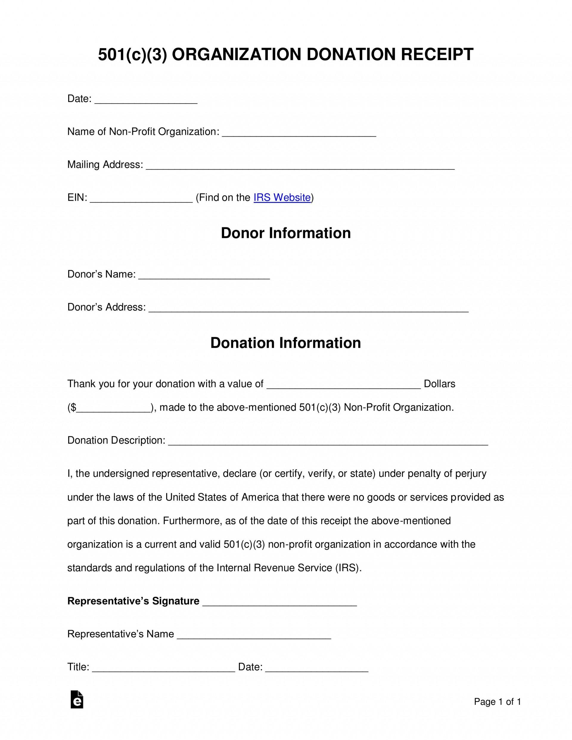 000 Unbelievable Charitable Donation Receipt Template Idea  Sample Ir Contribution Form Charity1920
