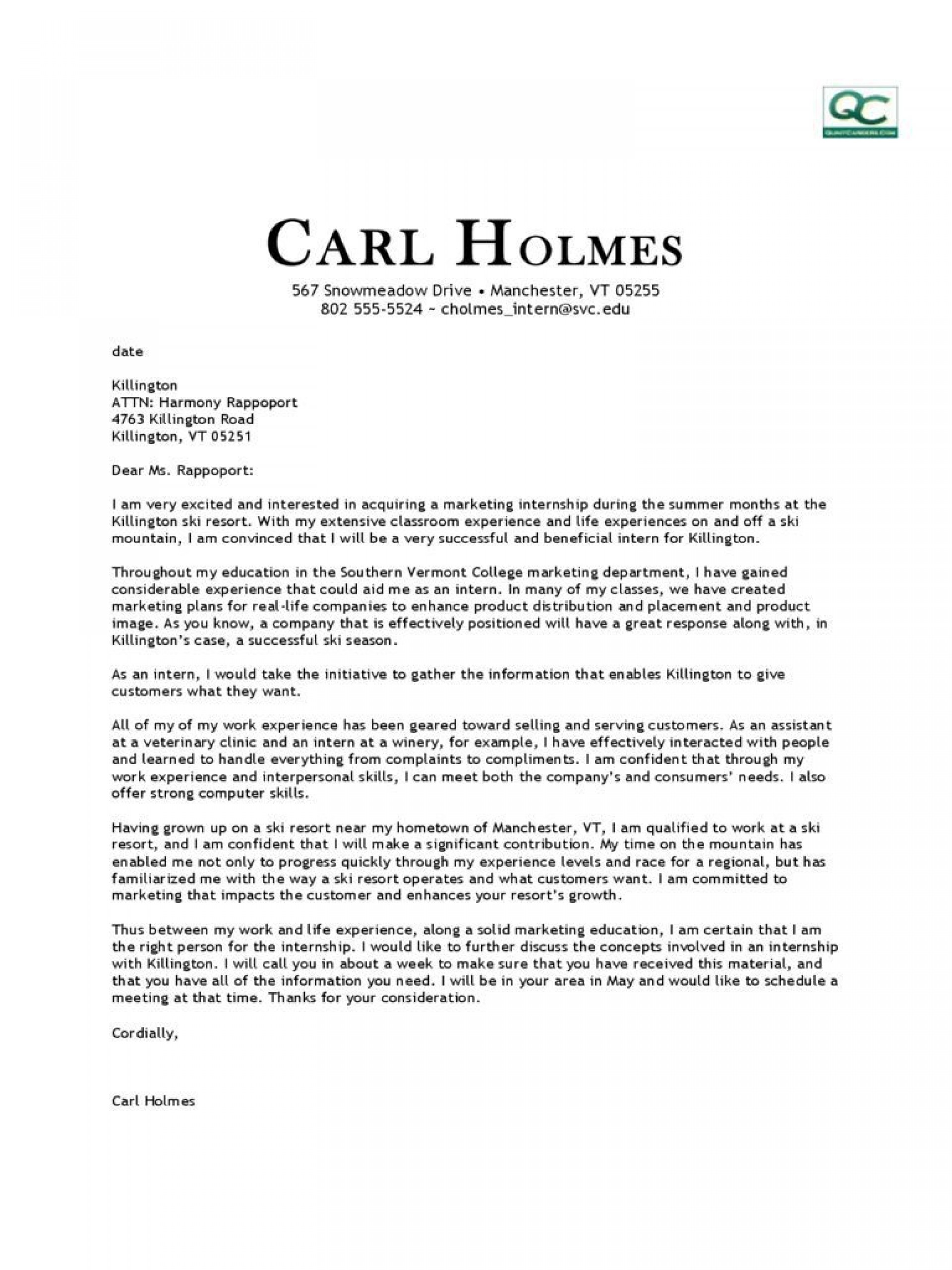 000 Unbelievable Cover Letter Template Internship Photo  Example Marketing Position For Civil Engineering1920