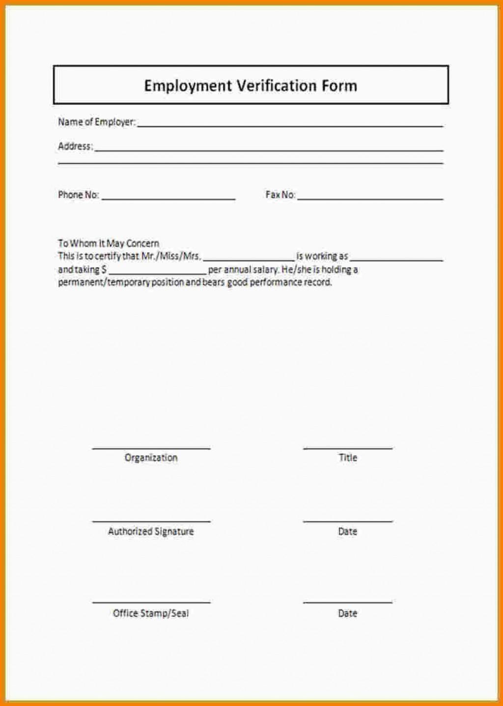 000 Unbelievable Employment Verification Form Template High Definition  Templates Previou Past PrintableLarge