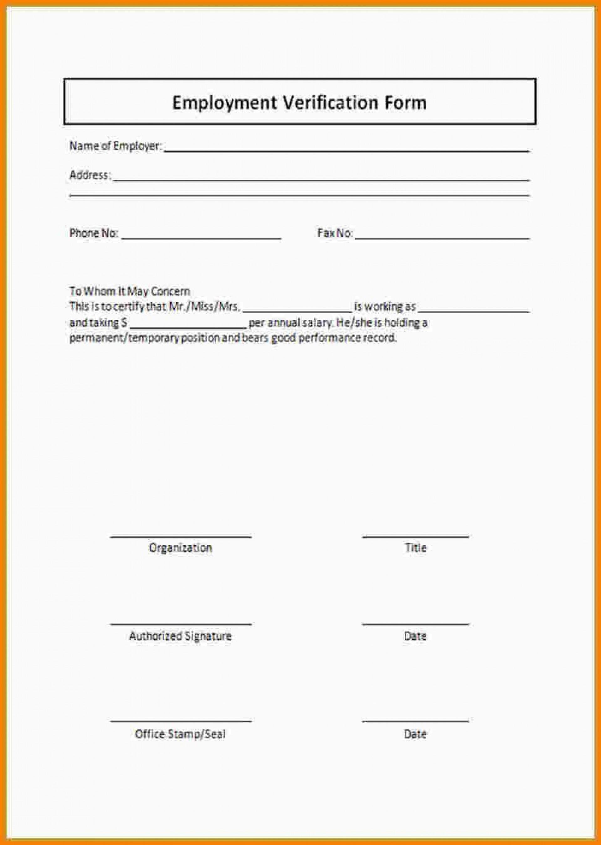 000 Unbelievable Employment Verification Form Template High Definition  Templates Previou Past Printable1920