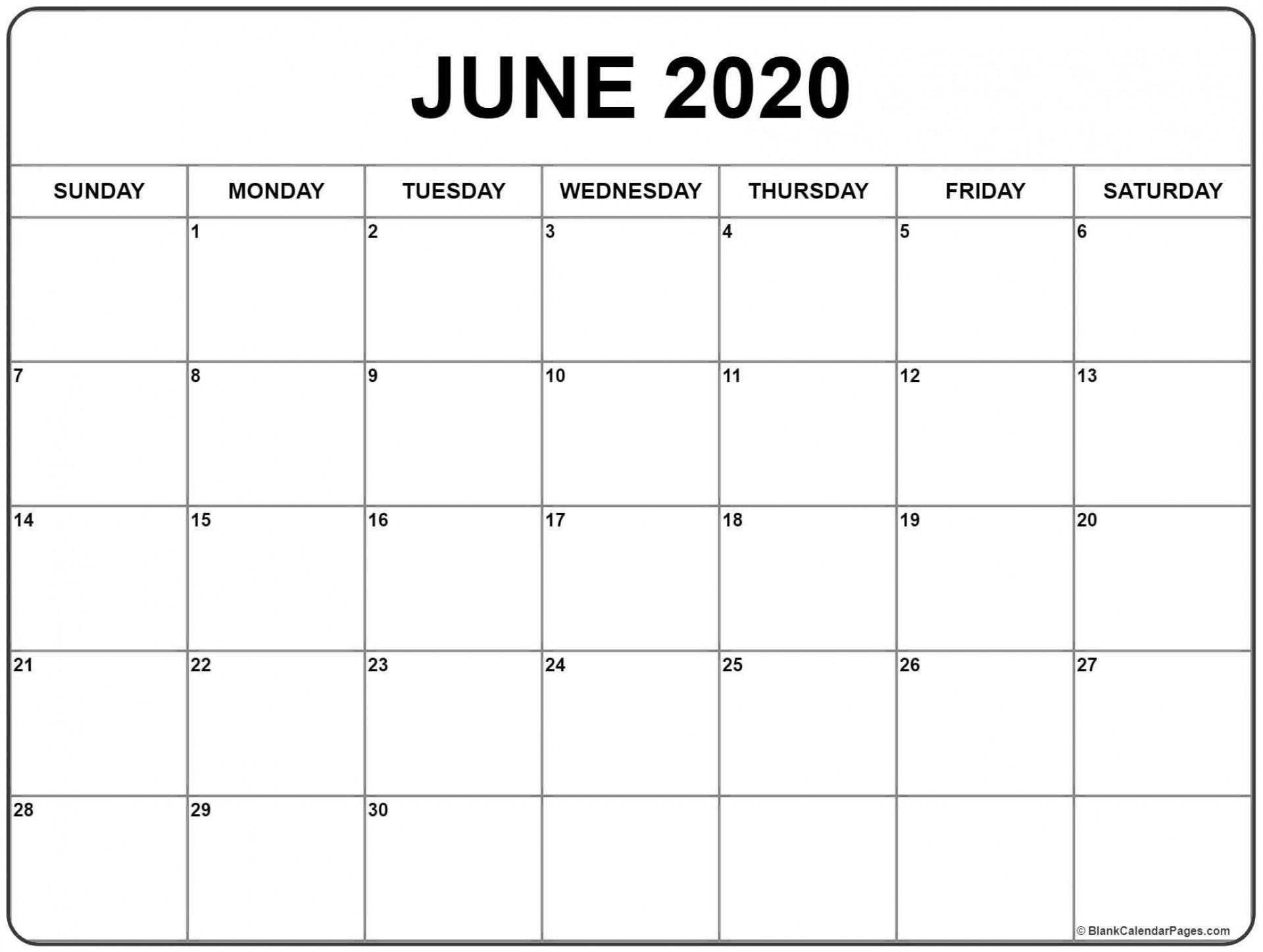 000 Unbelievable June 2020 Monthly Calendar Template Image 1920