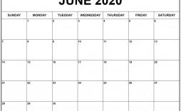 000 Unbelievable June 2020 Monthly Calendar Template Image