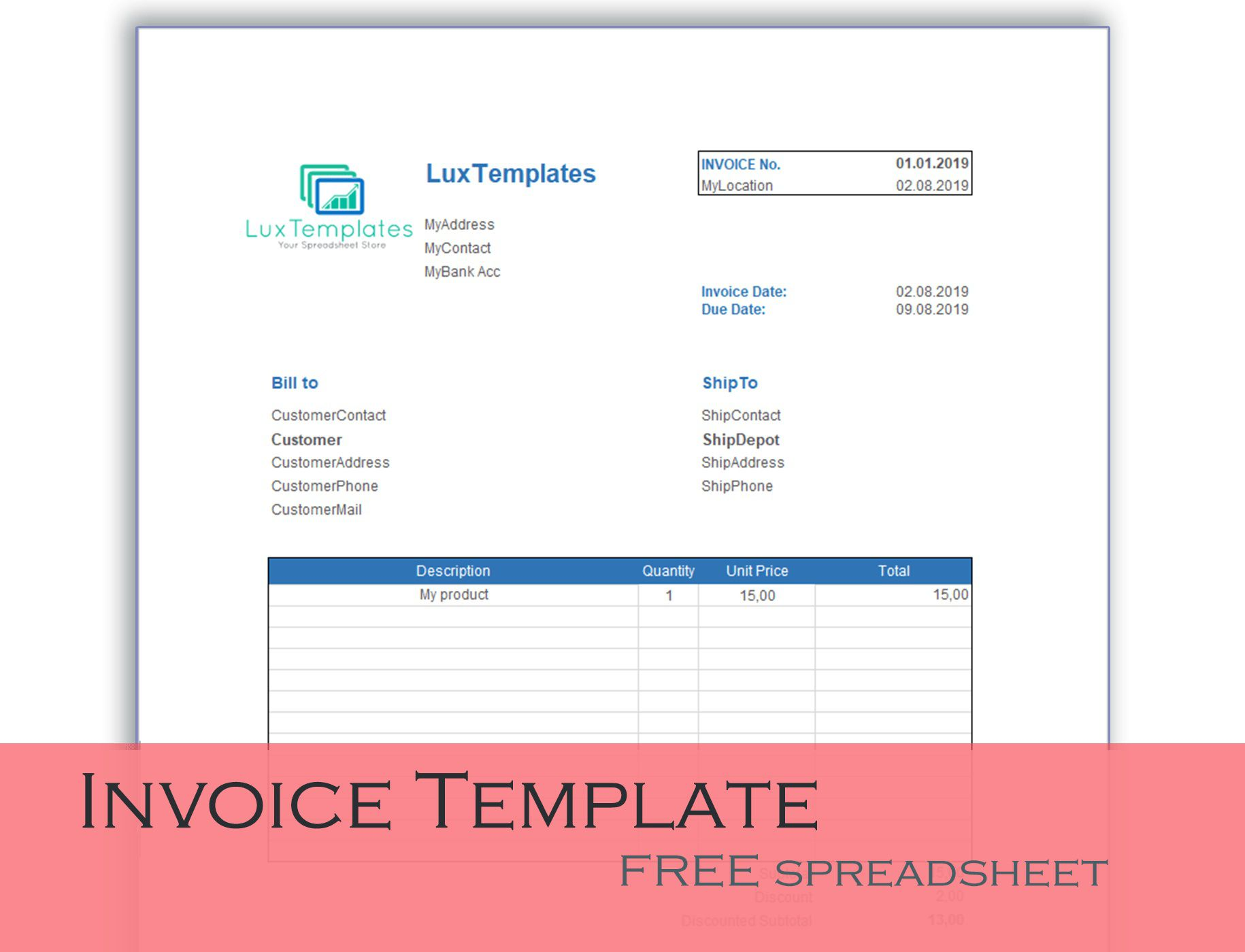 000 Unbelievable Microsoft Excel Invoice Template Free High Def  Download ServiceFull