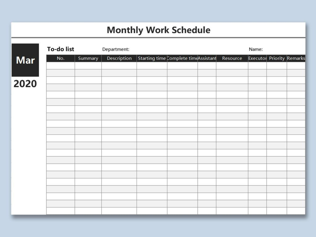 000 Unbelievable Monthly Employee Schedule Template Excel Photo  Work BlankLarge