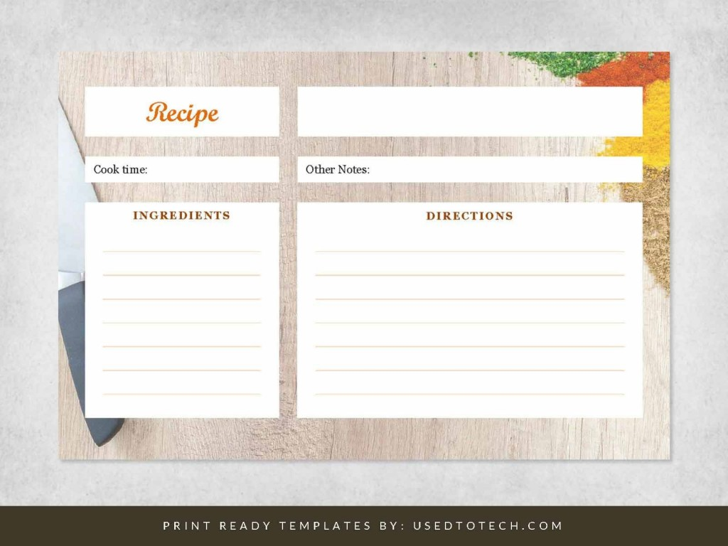 000 Unbelievable Recipe Card Template For Word Sample  Printable Blank FillableLarge