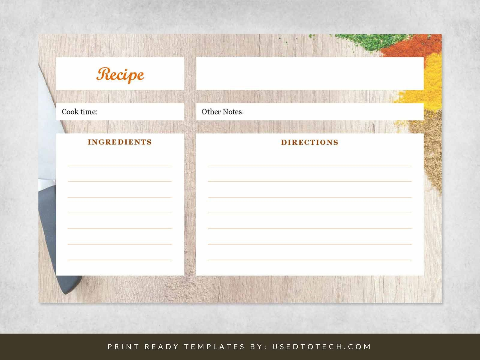 000 Unbelievable Recipe Card Template For Word Sample  Printable Blank FillableFull