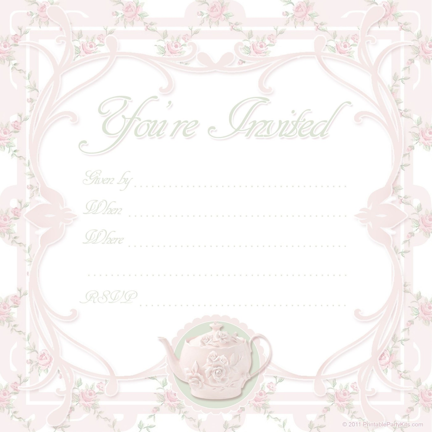 000 Unbelievable Tea Party Invitation Template Free Sample  Vintage Princes Printable1400