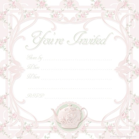 000 Unbelievable Tea Party Invitation Template Free Sample  Vintage Princes Printable480
