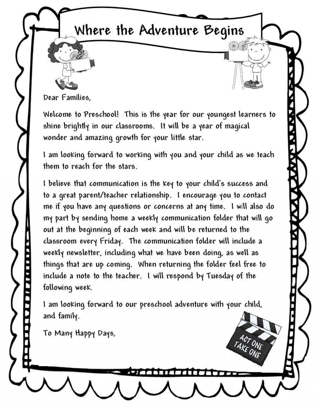 000 Unbelievable Teacher Welcome Letter Template Example  Preschool To Parent From FreeLarge