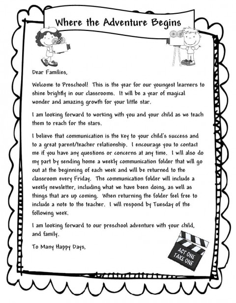 000 Unbelievable Teacher Welcome Letter Template Example  Preschool To Parent From Free480