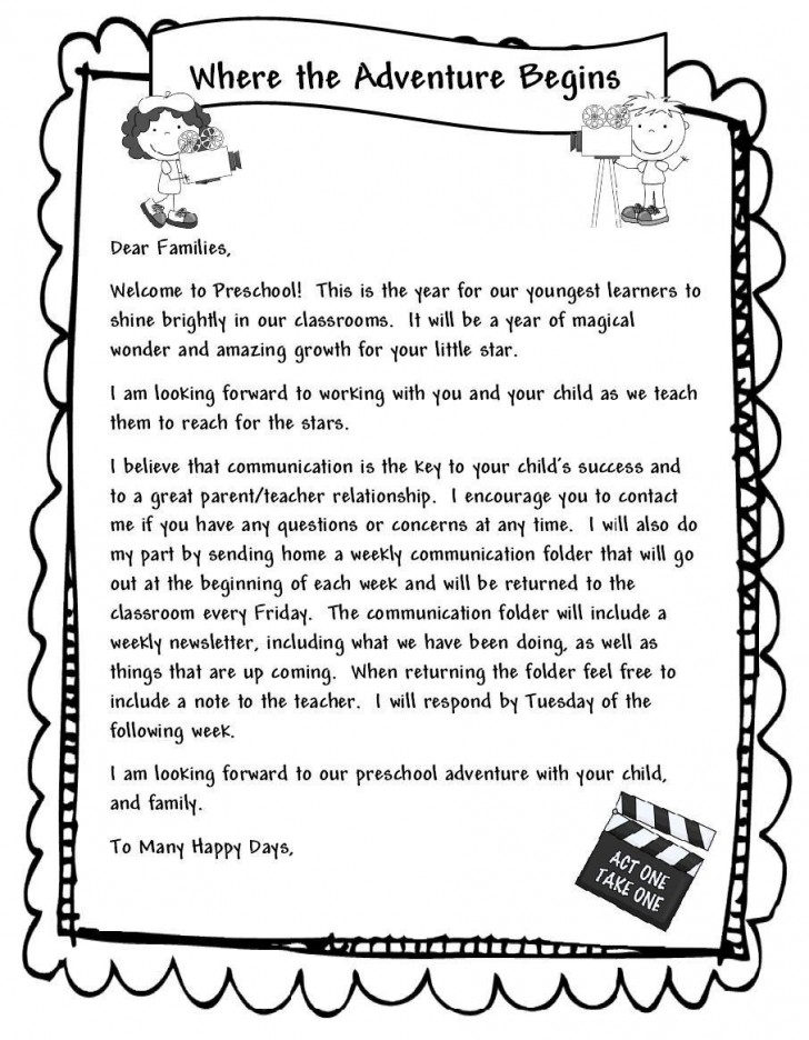 000 Unbelievable Teacher Welcome Letter Template Example  Preschool To Parent From Free728