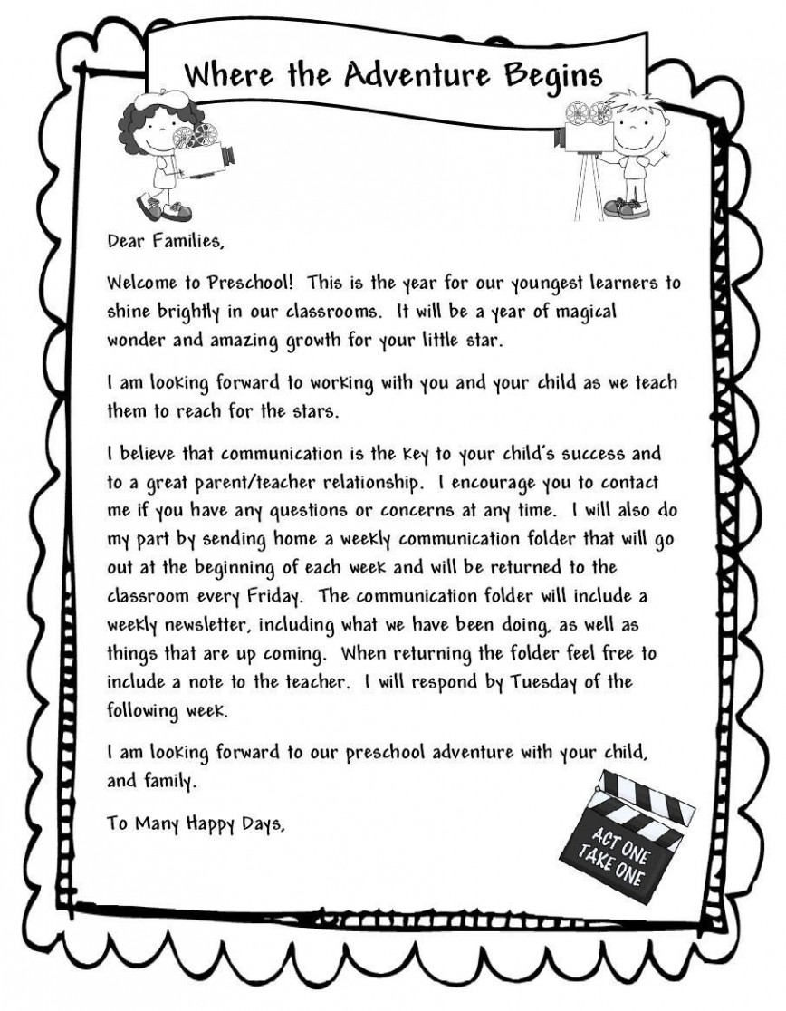 000 Unbelievable Teacher Welcome Letter Template Example  Preschool To Parent From Free868