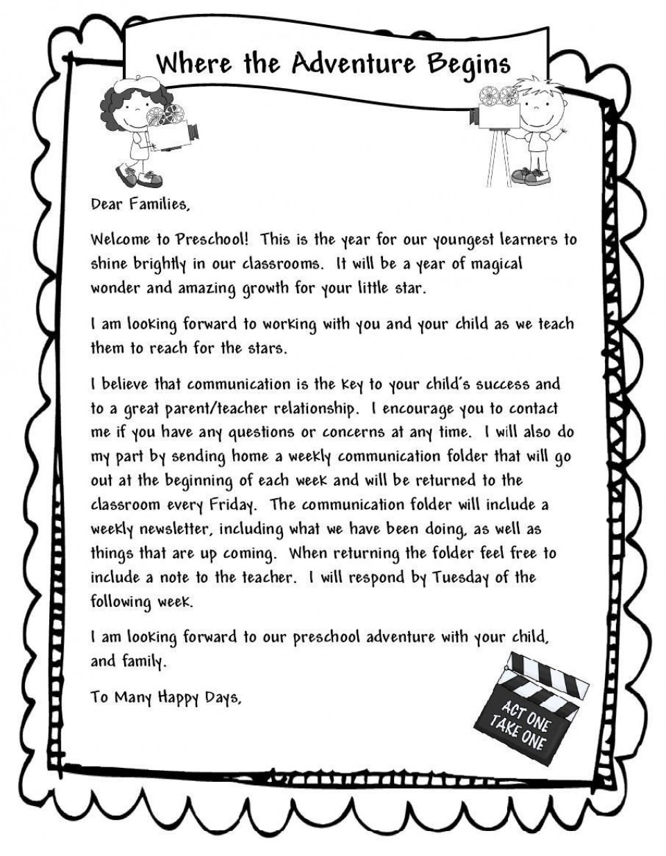 000 Unbelievable Teacher Welcome Letter Template Example  Preschool To Parent From Free960