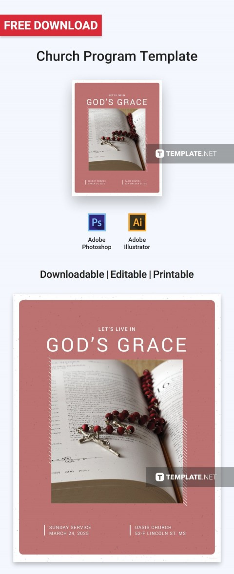 000 Unforgettable Free Church Program Template Design Image 480