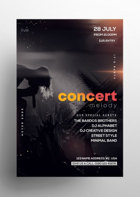 000 Unforgettable Free Concert Poster Template Highest Clarity  Rock Psd Christma Photoshop480