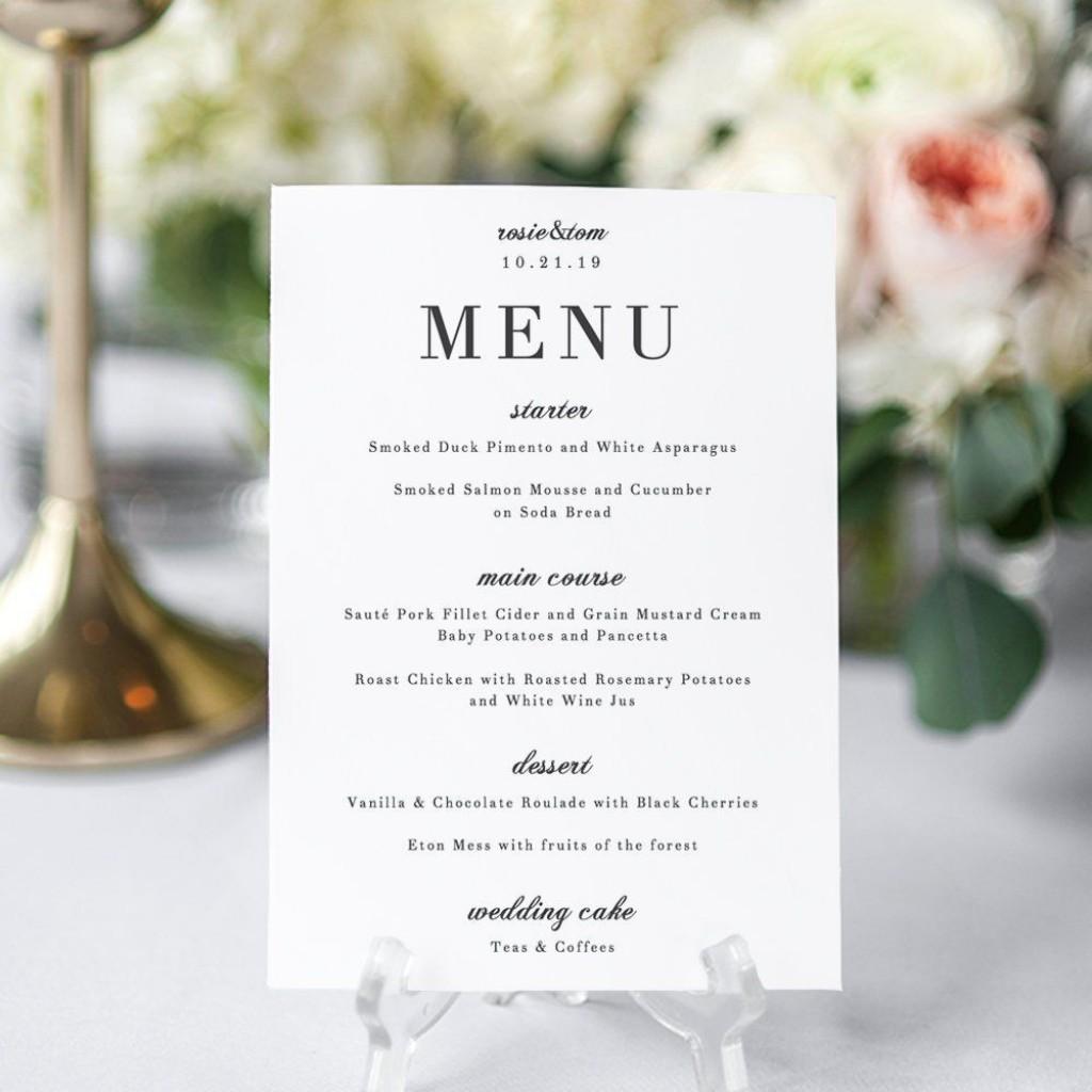 000 Unforgettable Free Wedding Menu Template To Print Idea  Printable CardLarge