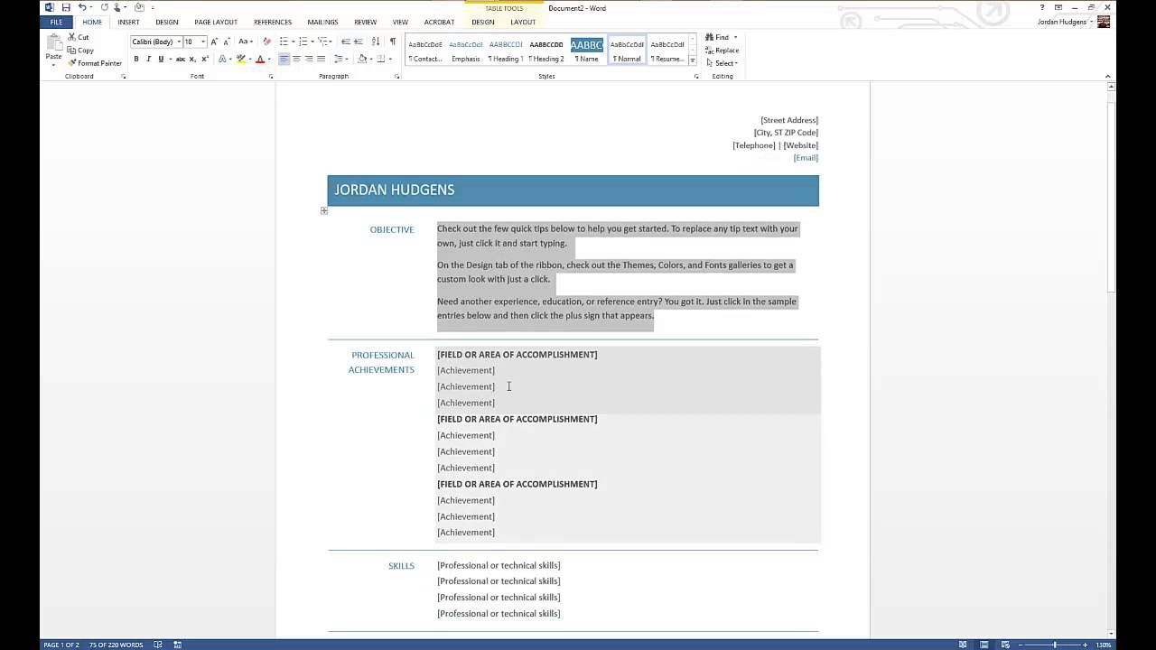 000 Unforgettable How To Create A Resume Template In Microsoft Word Sample  Cv/resume DocxFull