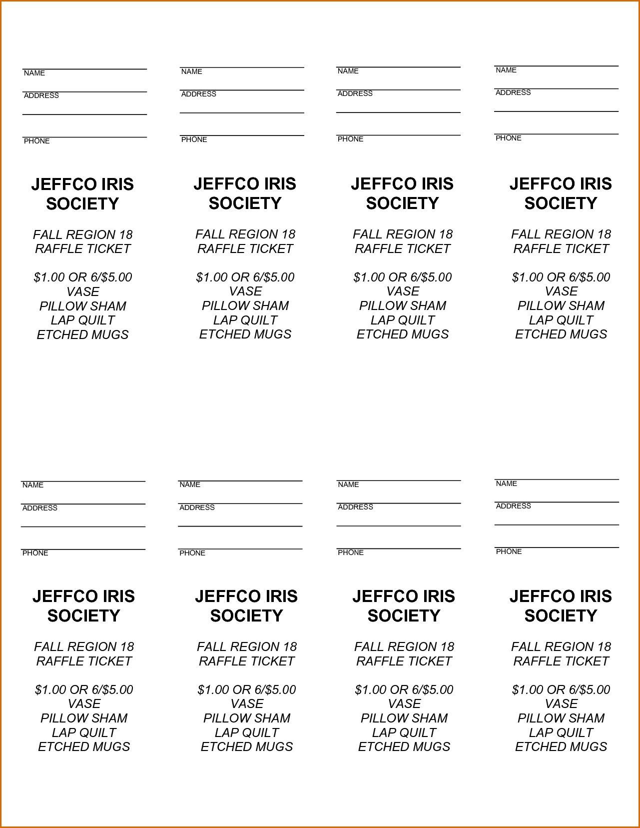 000 Unforgettable Microsoft Word Raffle Ticket Template Picture  2007 2010 8 Per PageFull